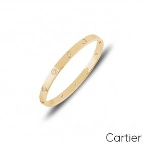 Cartier Yellow Gold Full Diamond Love Bracelet Size 16 B6040516